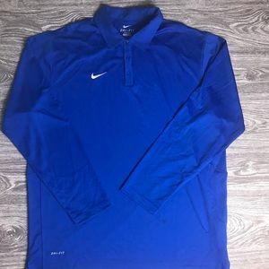 Men's XL NIKE DRI-FIT Long Sleeved Blue Polo